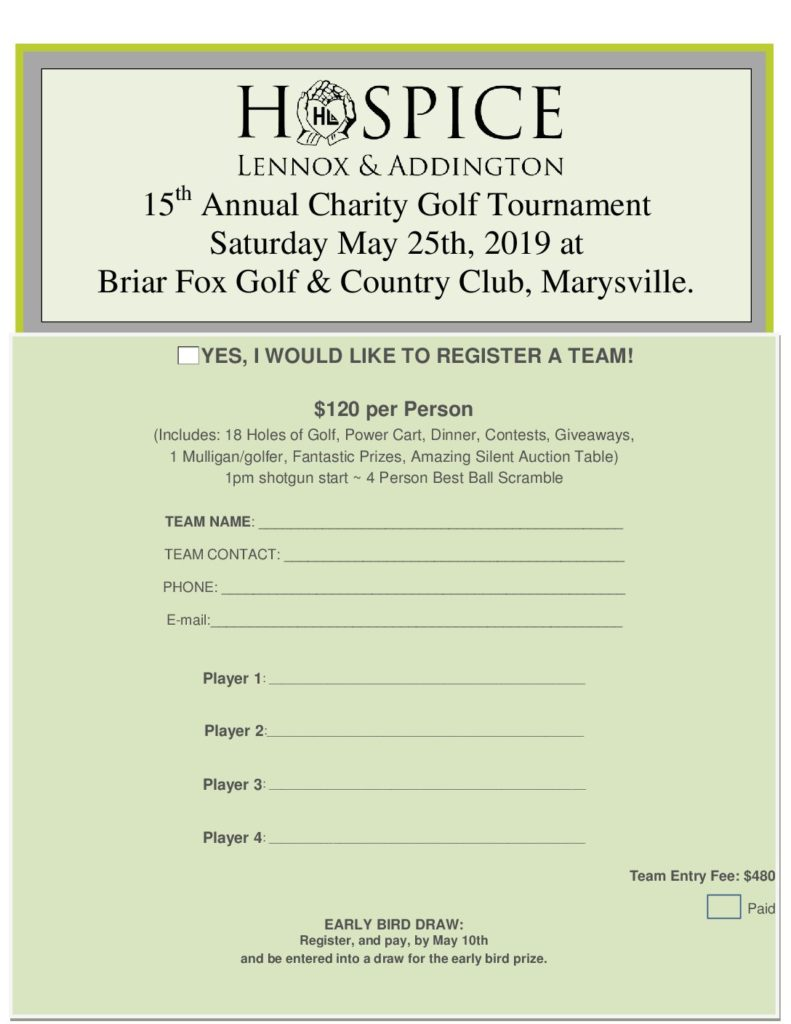 15th Annual Golf Tournament – May 25th, 2019 – Hospice Lennox